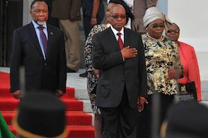 Picture: Deputy President Kgalema Motlanthe and President Jacob Zuma on the red carpet outside Parliament courtesy GCIS.
