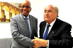 Picture: President Jacob Zuma greets FIFA President Sepp Blatter at the FIFA world Cup finals held at Rio De Jainero, Brazil, courtesy GCIS