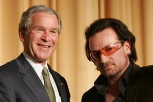 Picture: George Bush and Bono courtesy PD-USGOV-POTUS/Wikimedia Commons.