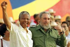 "Picture: July 27, 1991: Fidel Castro and Nelson Mandela during the celebration of the ""Day of the Revolution"" in Cuba courtesy Belfast Telegraph"