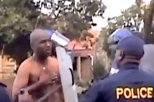 Picture: Moments before his death, Andries Tatane being attacked by police. Taken from screenshot of You Tube video.
