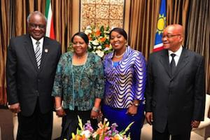 Picture: Namibian Presdient Hifikepunye Pohamba; his wife Penehupifo Pohamba; First Lady Bongi Zuma and President Jacob Zuma courtesy GCIS