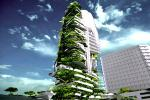Picture: Currently pending construction in Singapore, the EDITT Tower will boast photovoltaic panels, natural ventilation, and a biogas generation plant all wrapped within an insulating living wall that covers half of its surface area (courtesy Inhabitat).