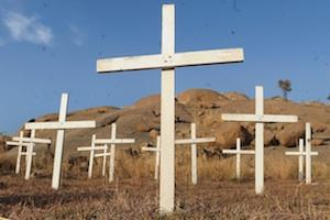 Picture: Crosses planted at the foot of the infamous Koppie in Marikana in memoriam of the miners killed, courtesy destiny.com.