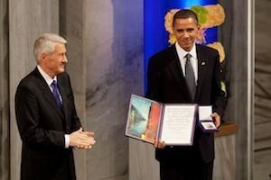 Picture: Nobel Committee Chairman Thorbjorn Jagland presents President Barack Obama with the Nobel Prize courtesy White House/Wikimedia.
