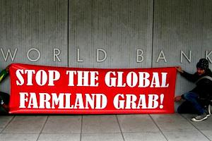 Picture: Civil society activists protest outside the World Bank
