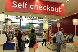 Picture: No cashiers here. Self-service checkout at a supermarket, courtesy Post Desk.