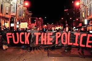 "Picture: ""Fuck the Police"" protest, Oakland, USA. glennshootspeople/Flickr"