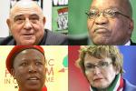 Picture: On the left, Ronnie Kasrils and Julius Malema. On the right, Jacob Zuma and Helen Zille