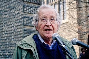 Picture credit: Noam Chomsky (April 2011) courtesy Andrew Rusk/WikiMedia Commons.