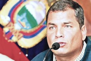Picture: President Rafael Correa of Equador has urged young people to fight for an open knowledge society - picture courtesy Top News.