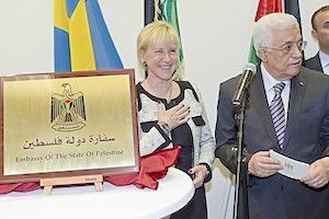 Picture: Palestinian President Mahmoud Abbas with Swedish Foreign Minister Margot Wallstrom at the opening of the first Palestinian Embassy in Western Europe  in Stockholm on February 10, 2015, courtesy RT.