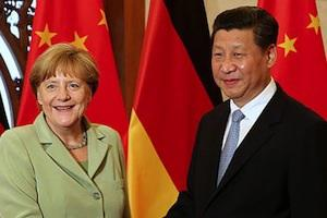Picture: President Xi Jinping meets German Chancellor Angela Merkel at the Diaoyutai State Guesthouse in Beijing courtesy China Daily.