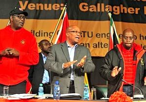 Picture: Suspended COSATU Secretary General Zwelizima Vavi, Jacob Zuma and COSATU President Sdumo Dlamini courtesy GovernmentZA/flickr.