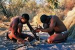 Picture: Bushmen in Deception Valley, Botswana demonstrating how to start a fire by rubbing sticks together courtesy Ian Sewell/Wikimedia Commons.